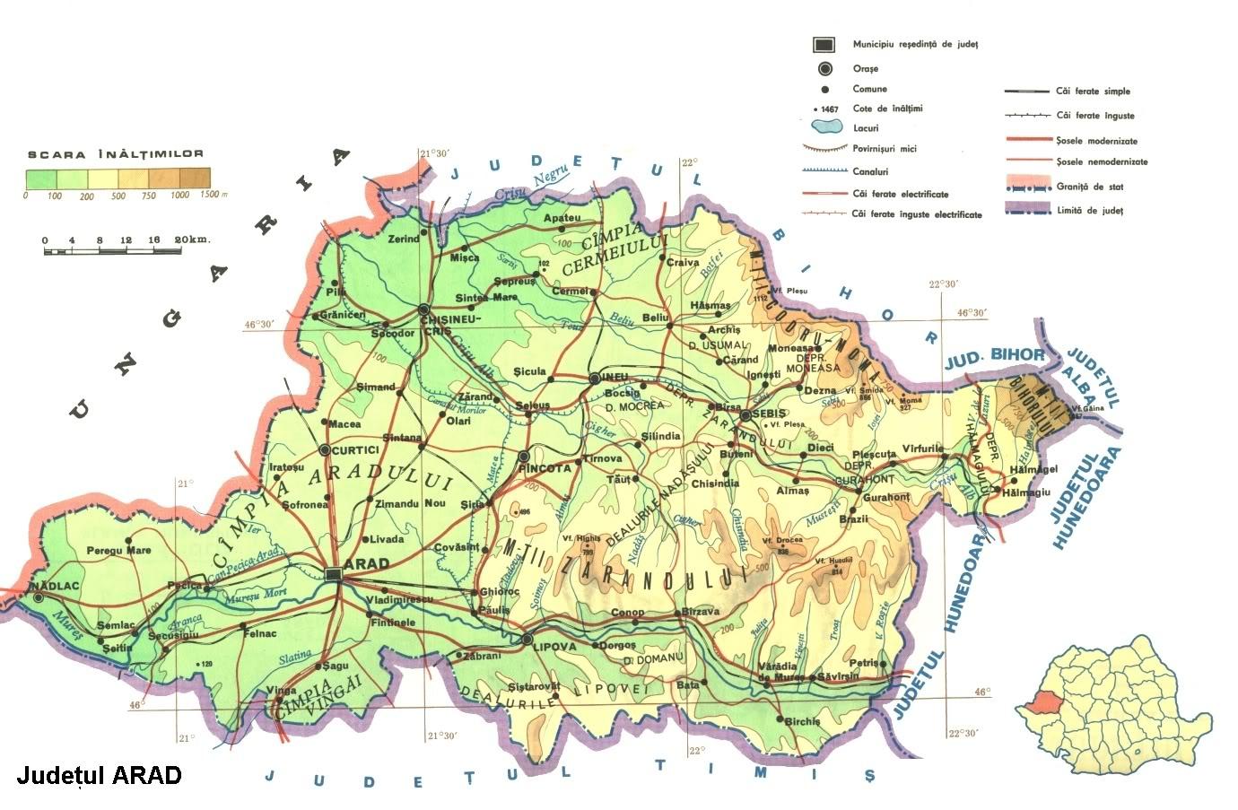 Judetul Arad Harta Romaniei