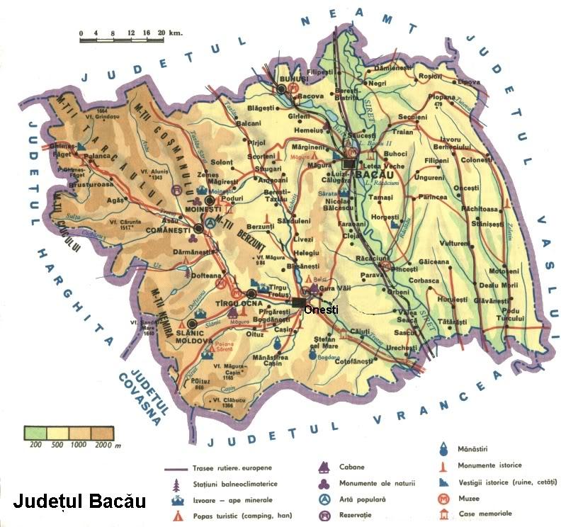 Judetul Bacau Harta Romaniei