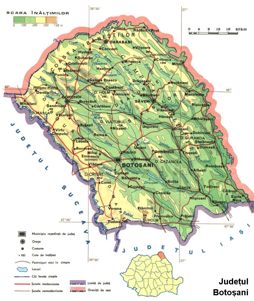 Judetul Botosani Harta Romaniei