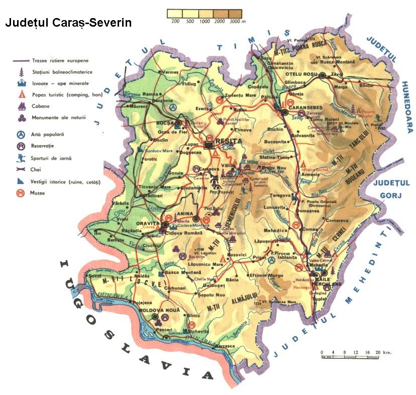 Judetul Caras Severin Harta Romaniei