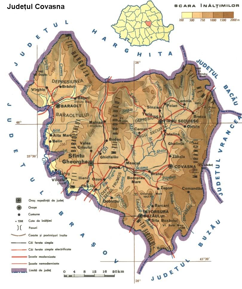 Judetul Covasna Harta Romaniei
