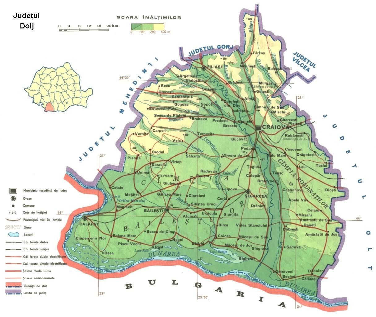 Judetul Dolj Harta Romaniei