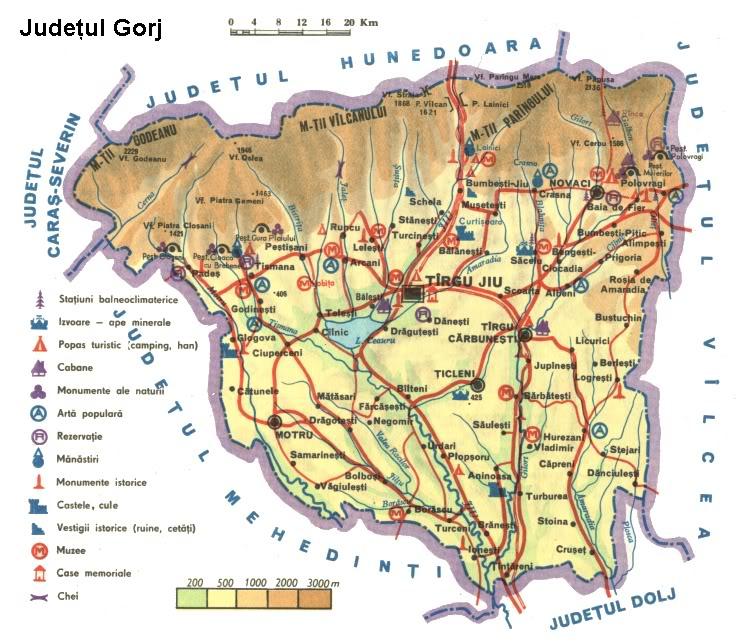 Judetul Gorj Harta Romaniei