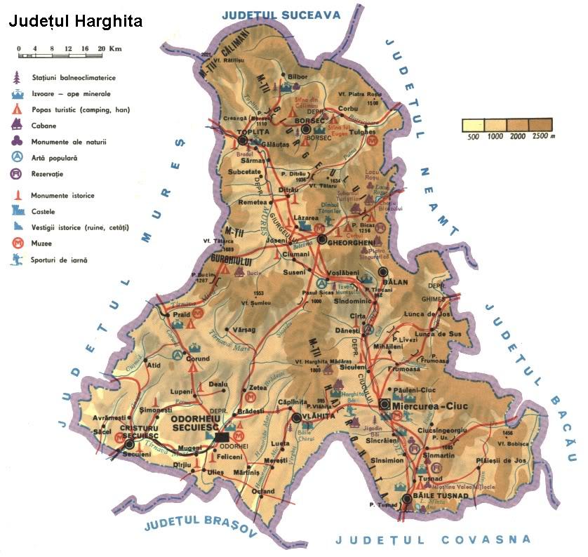 Judetul Harghita Harta Romaniei