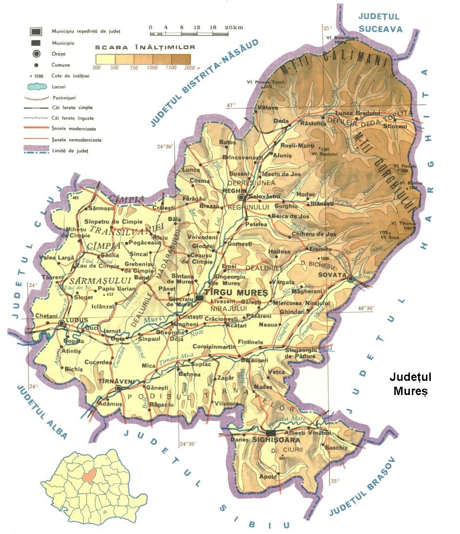 Judetul Mures Harta Romaniei