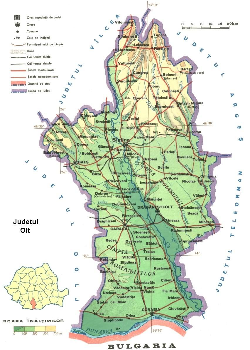 Judetul Olt Harta Romaniei