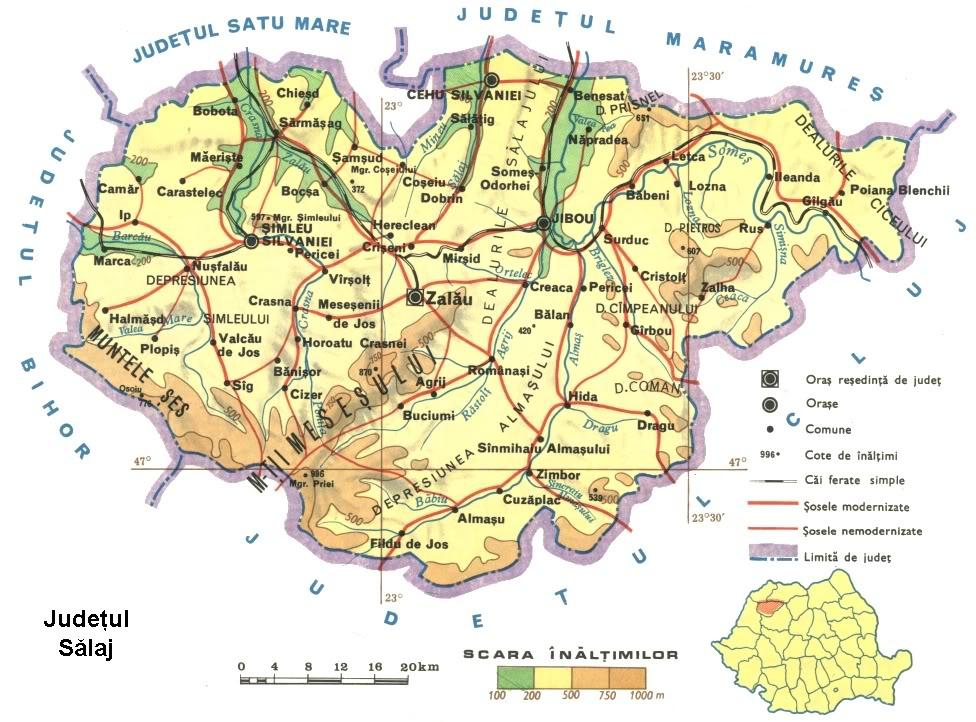 Judetul Salaj Harta Romaniei