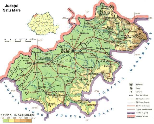 Judetul Satu Mare Harta Romaniei