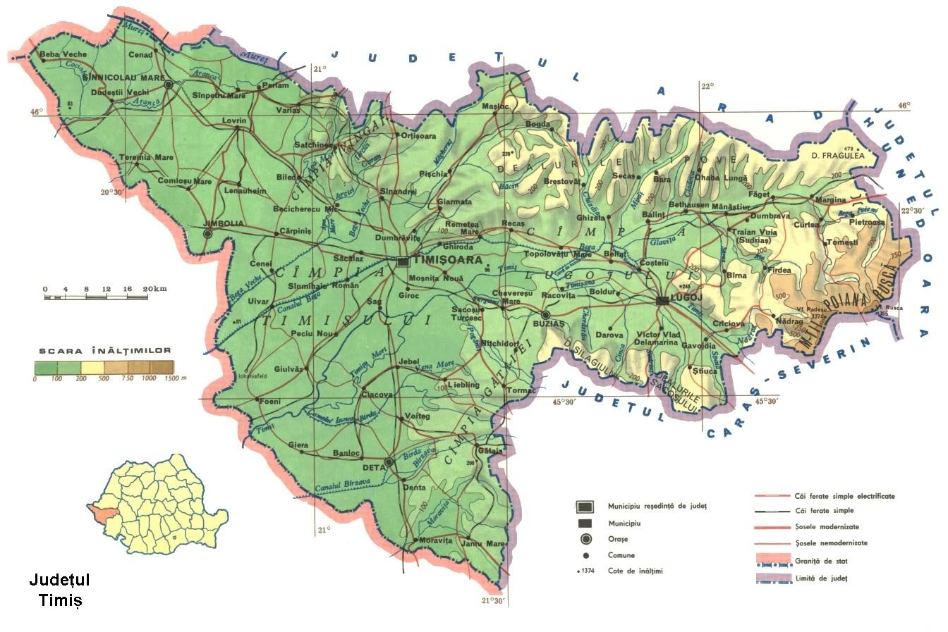 Judetul Timis Harta Romaniei