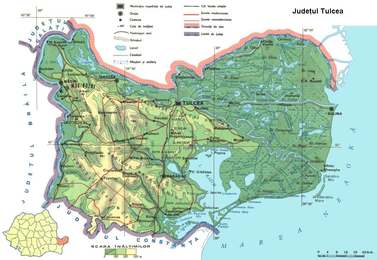 Judetul Tulcea Harta Romaniei