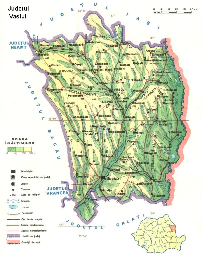 Judetul Vaslui Harta Romaniei