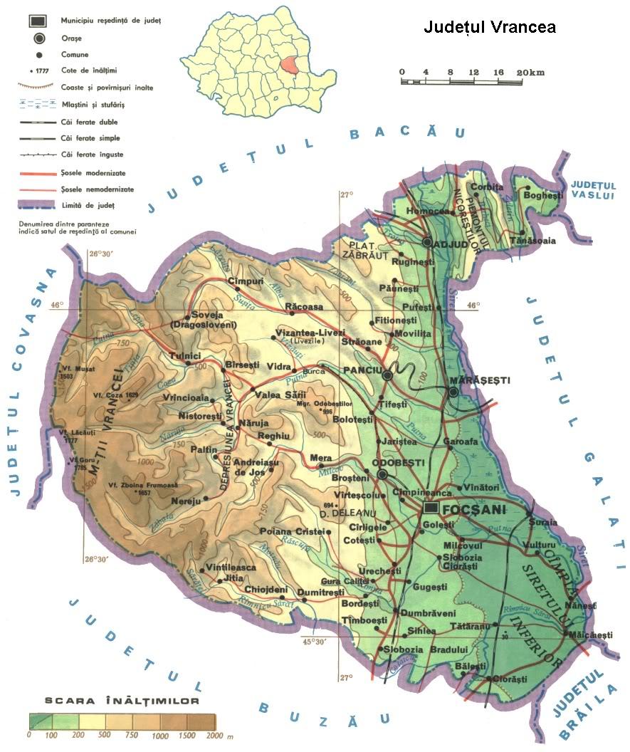 Judetul Vrancea Harta Romaniei